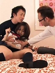 Ami Matsuda Asian has nipples squeezed and clit touched on thong