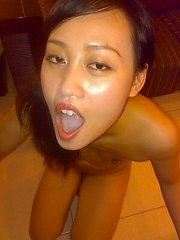 Dirty Asian slut sucks cock and spreads her fuckhole