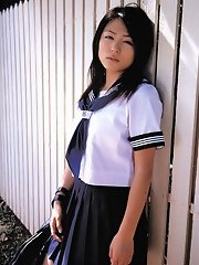 Cute gravure idol babe is adorable in her school girl uniform