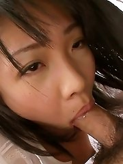 Hikaru Momose Asian in white shirt is very dedicated to suck cock