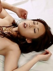 Yuu Uehara Asian in stockings shows brown pussy before is nailed