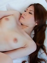 China Mimura Asian with long hair and round boobs gets phallus