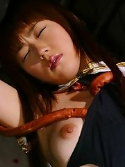 Asian slut is wrapped in tentacles