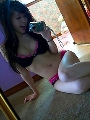 Cutie with a petite body and great tits making hot selfie