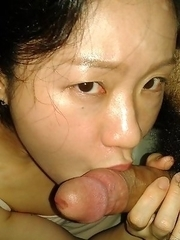 Korean GF sucks cock and gets jizzed on