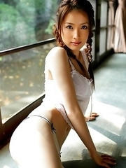 Saki Seto Asian with pigtails and white lingerie is so appetizing