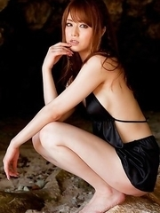 Akiho Yoshizawa in black bath suit is amazing model on the beach